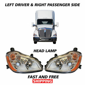 Kenworth T680 Projector Headlight Assembly With Position Right Left Pair 2010 19