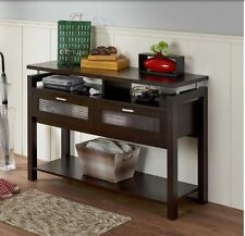 Sofa Table With Storage Espresso Brown Console Wood Drawers Foyer Hallway Entry