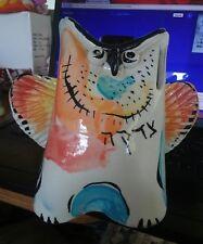 "Vintage Israel Signed Mid Century Modern Retro Owl Pottery Bank 7""tall"