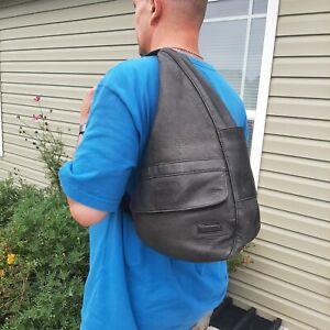 L.L. Bean Traveler Black Leather Healthy Back Ameribag Sling Bag Single Strap