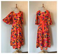 VTG 60s Two Potato Luguna Ca. bright neon bark cloth Hawaiian  maxi dress Sz M
