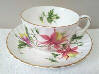 Adderley Columbine Swirl Tea Cup and Saucer Bone China England