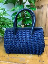 VINTAGE 1960S DARK BLUE CLASP TOP RETRO QUEENIE HAND BAG CROCHET OVERLAY