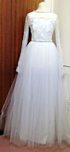TR VTG Pronuptia De Paris White/Ivory/Silver Tulle Skirt Wedding Dress UK 10