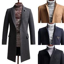 Herren Schlank klassische Lange Mantel-Blazer Jacken Pullover Outwear K002 XS~XL