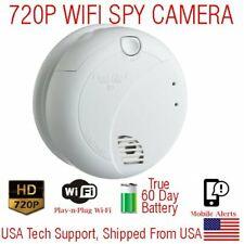 AES 60 Day Battery Powered WIFI Smoke Detector Wireless Spy Camera Nanny Cam