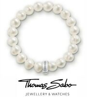 Genuine Thomas Sabo club silver 925 real pearl charm carrier bracelet 15cm & box