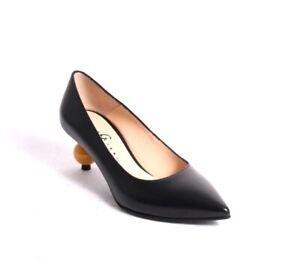 Gibellieri 1990r Black / Yellow Leather Pointy Heel Pump 39 / US 9