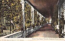 Delaware Water Gap House~Hotel Veranda~Plants on Long Porch~1910 Postcard