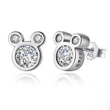Cubic Zirconia & 925 Sterling Silver Mouse STUD Earrings - Disney - Ladies