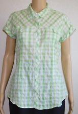 Royal Robbins Lime Green Plaid Cotton Blouse Shirt Button Down Short Sleeve L