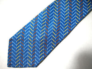 "Jos A Bank Signature Mens Necktie Tie Blue Orange Gold Herringbone Silk 60"""