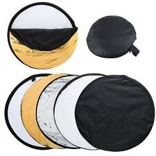 """24"""" 60cm 5-in-1 Camera Light Multi Collapsible Disc Reflector + Bag For Flash"""