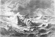 BRAZIL - A CYCLONE on the AMAZON - Engraving from 19th century