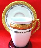 ANTIQUE LIMOGES  T & V FRANCE CHOCOLATE CUP & SAUCER  RAISED HEAVY GOLD BAND