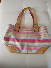 Auth Coach Hamptons Multicolor Stripe Leather Large Tote Bag 5175 read listing