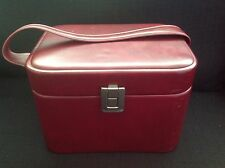 small vintage oxblood red faux leather Vanity case train case 60s 70s