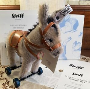 MINT IN BOX Limited Edition Steiff Donkey on Wheels Toy, 1929 Replica, Germany