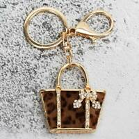 Crystal Rhinestone Keyring Charm Leopard Handbag Pendant Purse Car Key Chain