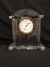 WATERFORD Crystal Desk Mantel Clock WorkIng 6.75x6.25x2""