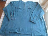 NIP 3X/4X/5X BIG Men Henley Shirt L/S KING SIZE Sweatshirt Heavy Everglade Green
