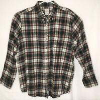 Chaps Mens Medium Brushed Flannel Shirt NWT Plaid Long Sleeve Brown Green L/S