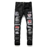 2019 Mens Patchwork Jeans Pants Night club denim jeans Embroider pants trousers