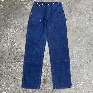 Vintage CARHARTT B07 DNM Double Front Logger Suspender 32x36 Dark Blue Jeans