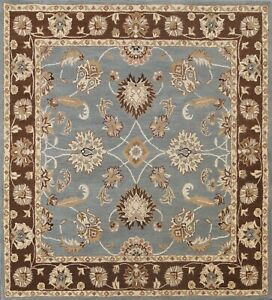 7x7 ft Square Blue Traditional Floral Oriental Area Rug Hand-Tufted Wool Carpet