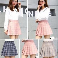 Ladies Girls Skirts Women's Plaid Flared Pleated Mini Skater Skirt Size S - 3XL