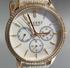 Regent * Ref. 12100619*Stahl vergoldet*Zirkonia* Chronograph*Damen-Armbanduhr *