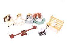 Puppenstuben & -häuser Puppenmöbel altes Bettchen Drahtgeflecht Metall Baby Püppchen Kinderwagenkette