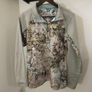 Cabelas Zonz Western Woodlands Sweatshirt Women's Medium Camo Beige 1/2 Zip