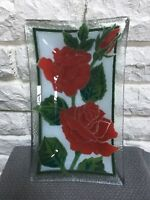 "Peggy Karr Rectangle signed Art Fused Glass plate tray, 10"" x 6"" Roses Valentine"