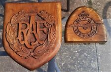 More details for 2 x delightful ww1 1917 raf emblems, hand carved wooden trench art wall plaques