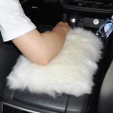 Decor White SUV Sheepskin Wool Center Console Armrest Box Cover Mat Pad Cushion