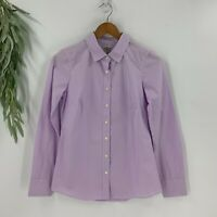 J.Crew Womens Button Up Shirt Haberdashery Size XS Long Sleeve Gingham Purple