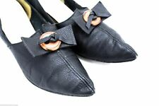 Vtg 1950s Pointed Toe Shoes Kitten Heels Black Leather Rockabilly Raub 6 1/2M