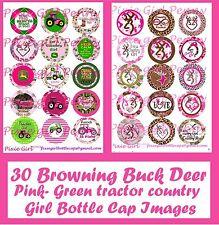 30 Precut Browning buck deer & Country Girl Green Tractor bottle cap images