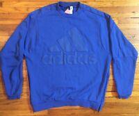 Men's Adidas Crewneck Sweatshirt Royal Blue L Large Side Zips Three Stripes NICE