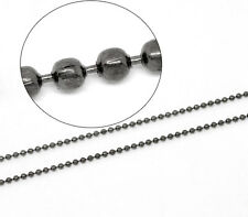 2mtr QUALITY GUNMETAL PLAIN BALL CHAIN 1.5mm unfinished ~ Necklace (CH9) UK