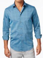 Men's ALFANI Mallard Blue Plaid Shirt, Size: L