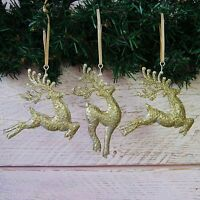 Set of 3 Christmas Tree Decorations Gold Glitter Metal/Tin Leaping Reindeer