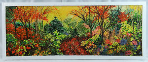 Original Art Acrylic Paint Autumn Foliage Painting Resin Encased Patricia May
