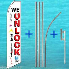 WE UNLOCK FLUTTER FLAG + POLE MOUNT KIT Feather Swooper Banner Tall Sign 25-1458