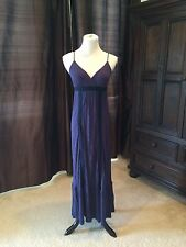 Rare Navy Blue Pleated Ruffle Embroidered ELLA MOSS MAXI DRESS XS 2 4 6