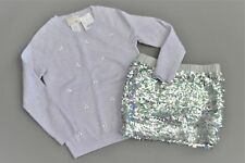 JCrew Crewcuts Lilac Crystal Sweater and Sequin Skirt, Size 4-5 (NWT)