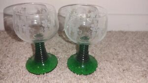Vintage Schott Zwiesel Green Beehive Grapes Leaves Etched Dessert Wine Glasses