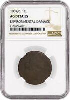 1807/6 Draped Bust Large Cent S-273 Large 7 NGC AG Details Environmental Damage