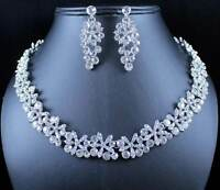 SNOWFLAKE AUSTRIAN RHINESTONE CRYSTAL BIB NECKLACE EARRINGS SET PROM N988 SILVER